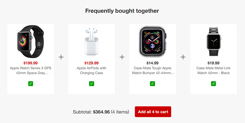 Apple cross-selling example (online store marketing)