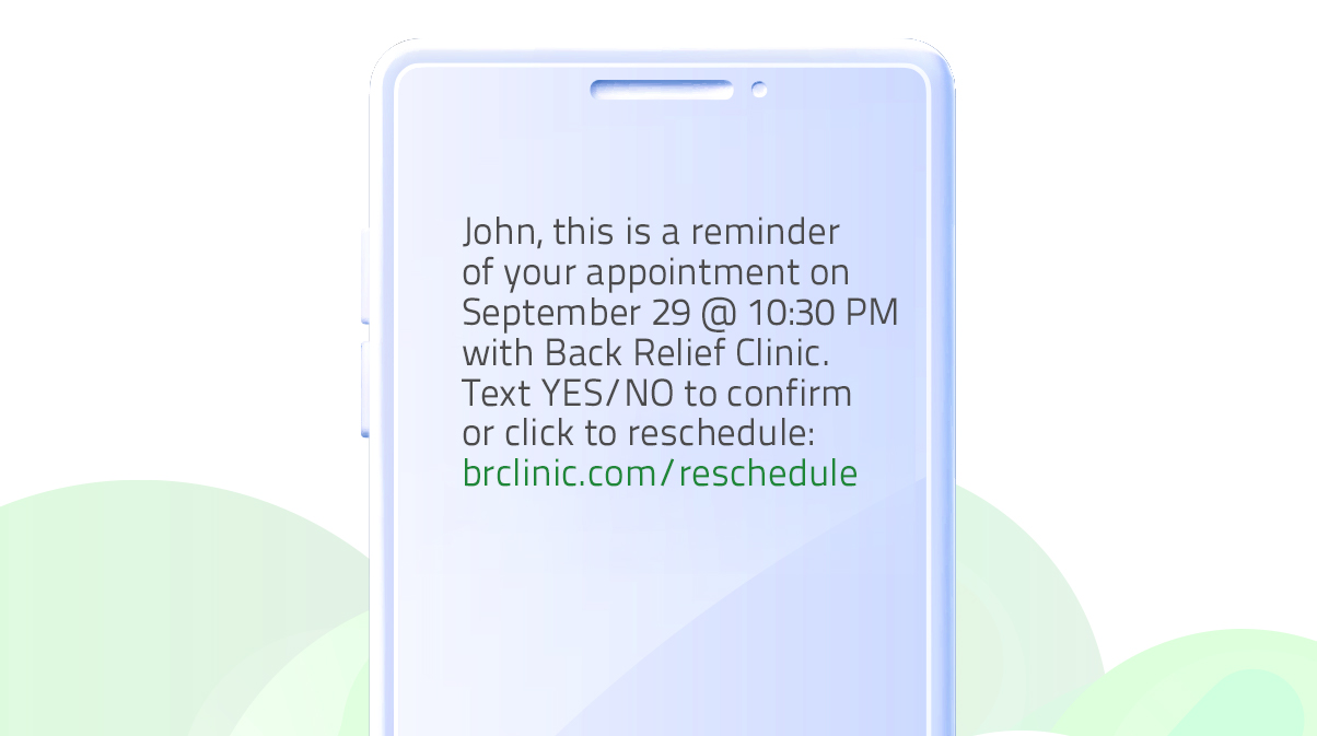 SMS reminder template (automated text messages)