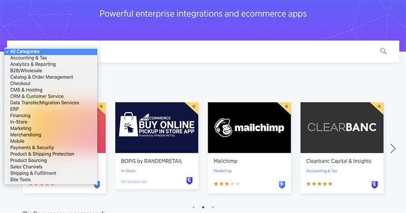BigCommerce offers apps and integrations from its Apps marketplace