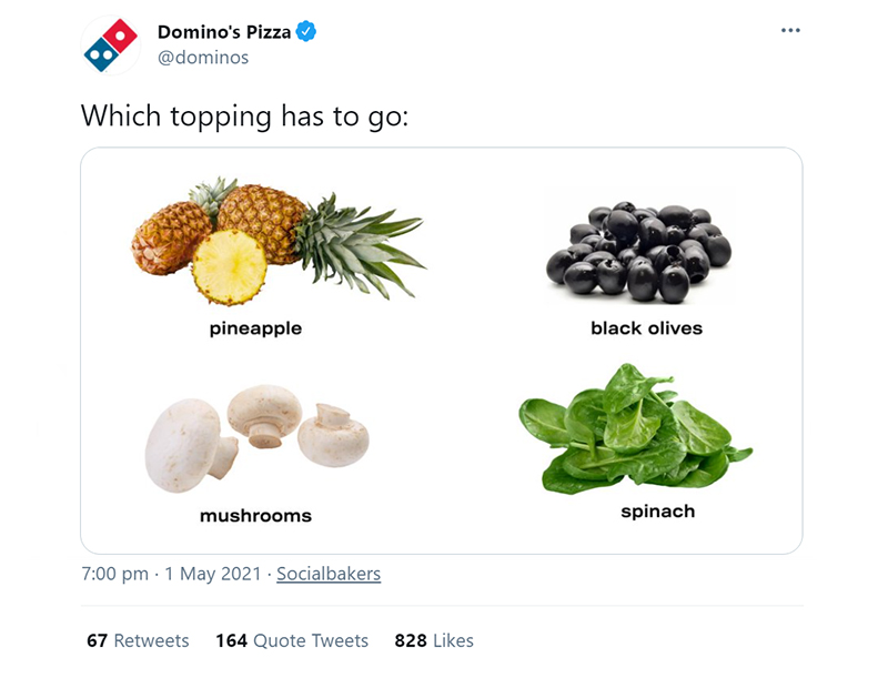 Engaging post on Twitter by Domino's pizza