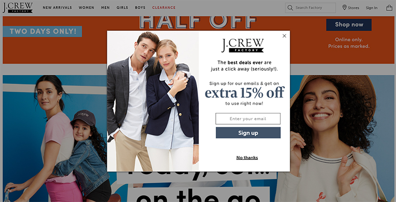Email subscription form on J. Crew's website (how to promote your online store)