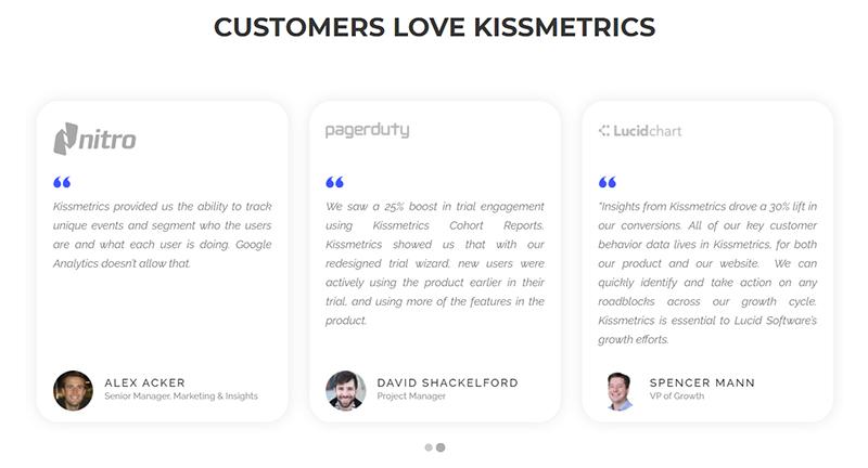 Customer reviews section on Kissmetrics website (online store promotion ideas)
