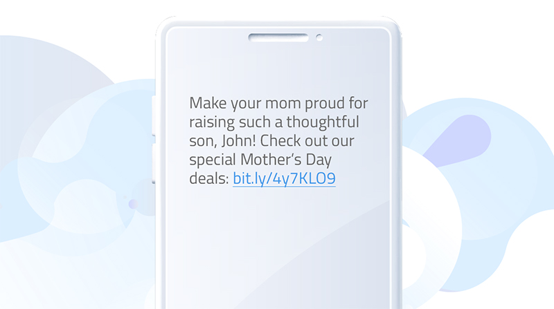 SMS template for Mother's day promotions