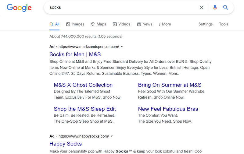 Paid ads for socks on Google (online store advertising)